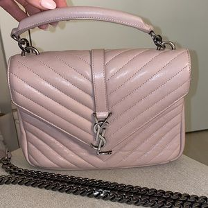 Saint Laurent Medium College Bag in Pinky Nude